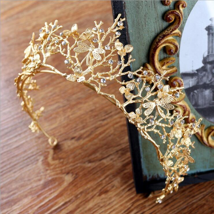 Vintage Baroque Wedding Bridal Hair Accessories Bridesmaid Dragonfly Women Girls Gold Crystal Tiara Crown Headbands 4