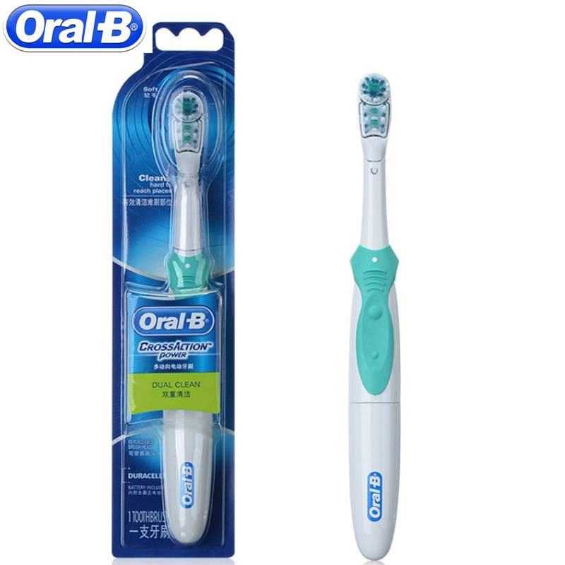 Oral B Cross Action Electric Toothbrush Teeth Whitening Tooth Brush Electric Brush Non-Rechargeable Battery Powered oral b cross action electric toothbrush dual clean teeth whitening non rechargeable teeth brush 4 colors random delivery
