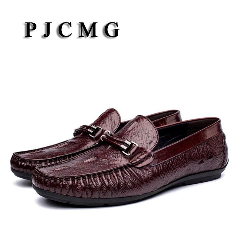 Pjcmg Black Sociaux Hommes Souple Appartements Chaussures Cuir red Mocassins Conception En Véritable Crocodile Occasionnels Slip Conduite on Nouveaux 6ax7q56r