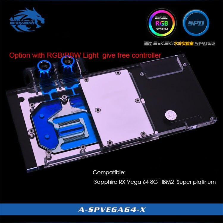 Bykski GPU refroidisseur pour Saphir RX Vega 64 8G HBM2 Super platine pleine couverture carte graphique bloc de refroidissement à eau rvb/rbw lumière