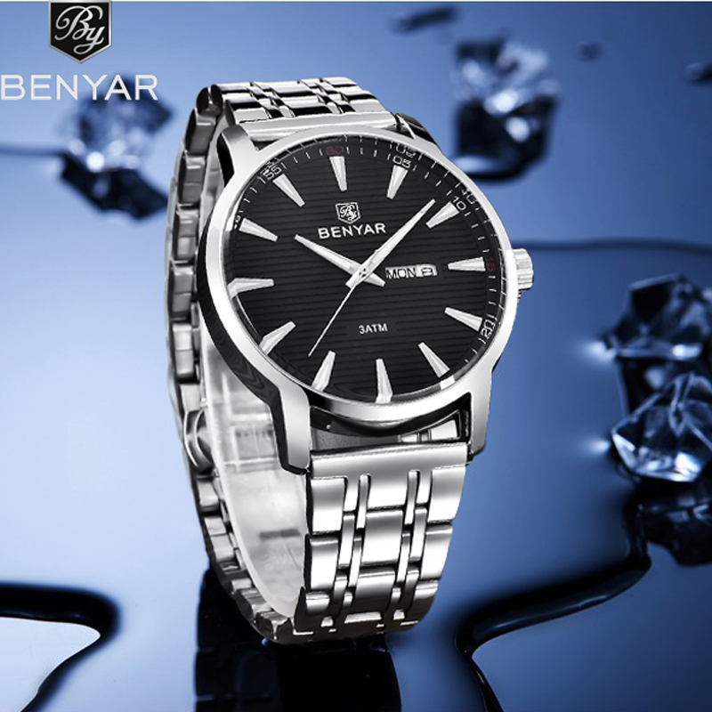 2019 New BENYAR Men's Watches Simple Business Quartz Watch Men Classic Stainless Steel Waterproof Watch Men Relogio Masculino