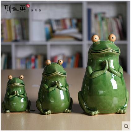 Ceramic Creative Lucky Green Frog Statue Home Decor Craft Room Decoration Porcelain Animal Figurine Garden Vintage Ornament Gift In Figurines Miniatures