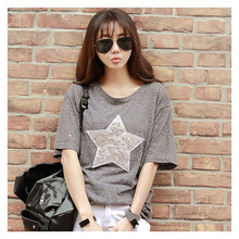 Summer ladies new shiny three-dimensional embroidery texture short sleeve Korean cotton loose T-shirt