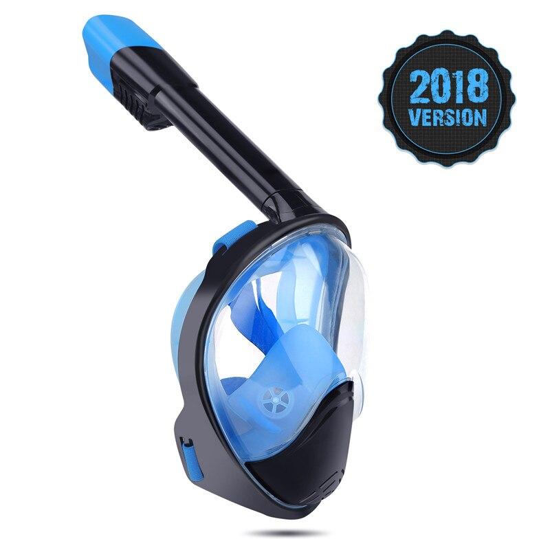 2018 Vollgesichts Schnorcheln Masken Panoramablick Anti-fog Anti-Leck Schnorchel Schwimmen Scuba Tauchen Maske GoPro kompatibel