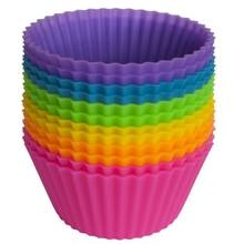 12 sztuk/zestaw kształt zaokrąglony silikonowe foremki do pieczenia ciast ciasto formy silikonowe Cupcake Cup domu kuchnia narzędzia kuchenne losowy kolor