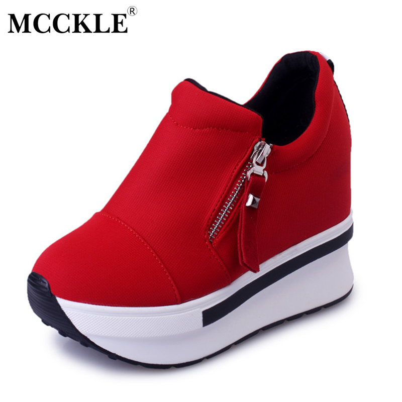 MCCKLE Fashion Slip On Canvas Women Shoes Platform Zip Increased High Heels Female Shake Shoes Autumn Casual Wedges Ladies Shoes mcckle women high heels ankle boots female buckle slip on suede shoes woman platform spring autumn casual shoes black size 35 39