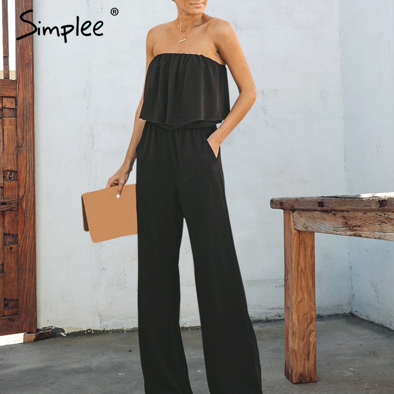 Simplee Elegant off shoulder chiffon women long   jumpsuit   Sexy wide leg casual   jumpsuit   romper Solid summer casual overalls 2019