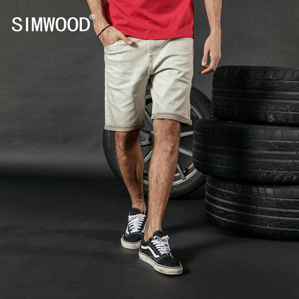 SIMWOOD 2020 Summer New Dark Washed Denim Shorts Men Casual Knee Length Vintage Short Jeans Plus Size Brand Clothing 180080