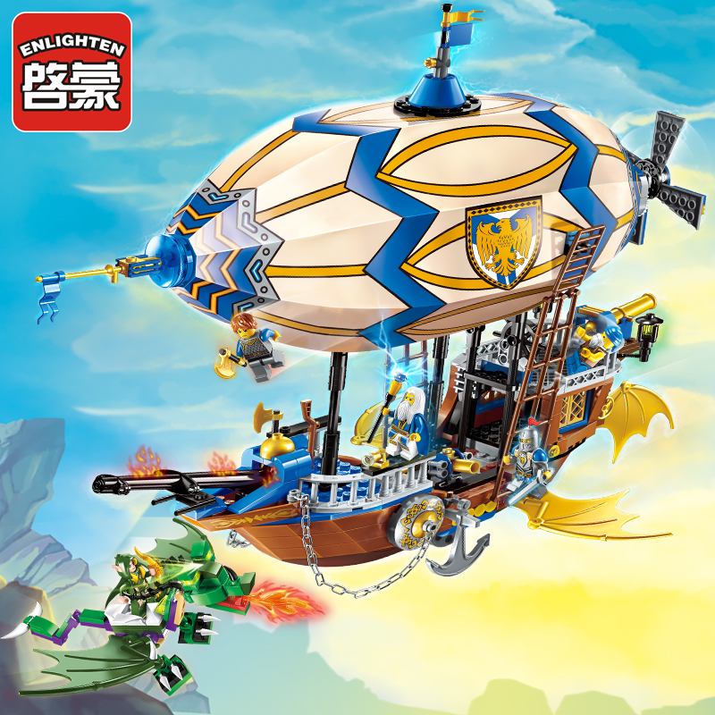 Enlighten Glory War Educational Building Blocks Toys For Children Gifts Castle Knight Heros Weapon Dragon airship castle and knight
