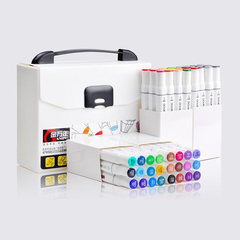Di alta Qualità Rifornimenti di Arti Scalpello e Pennello Dual Twin Tip Brush Art Markers Art Graphic Disegno Marker Pen Set Marcadores
