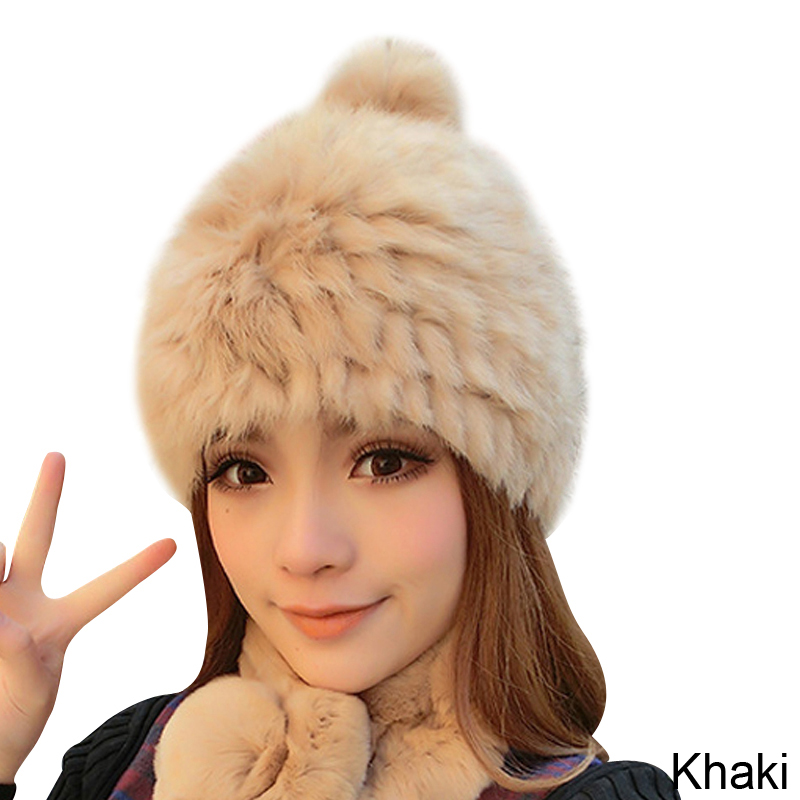 f7bf6941da9da Women Winter Hats Rabbit Fur Beanie Knitted Hat High Quality Fur ...