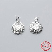 Uqbing 100% 925 пробы Серебряный свежий цветок хризантемы Подвеска