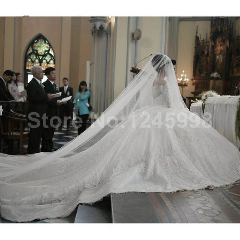 2016 Spring New Le Y Cathedral Train Long Sleeve Lace Ball Gown Wedding Dress Bridal Robe De Mariage Vestido Noiva In Dresses From