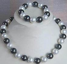 Asli 6-16mm Hitam South Sea Shell Putih Mutiara Kalung + Gelang A Jewel Set(China)