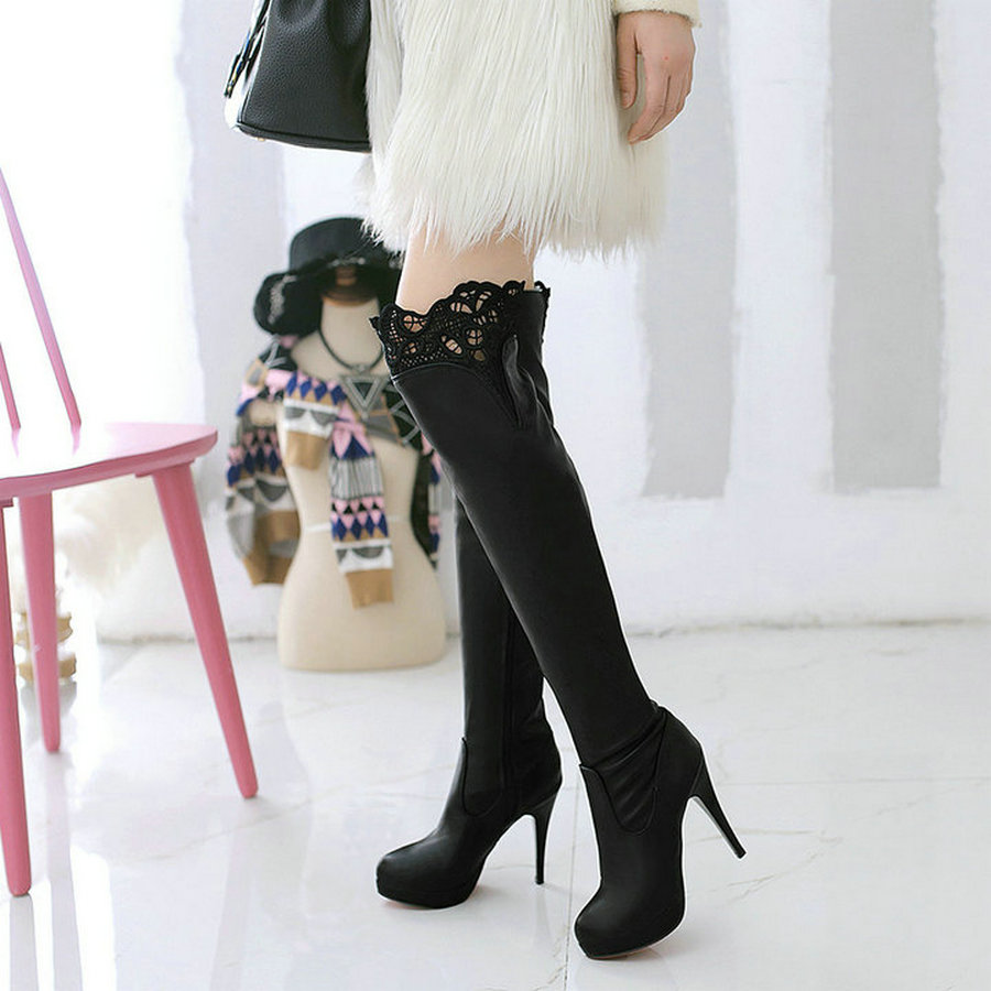 Female Pu Lace Over The Knee Boots Sexy Thin High Heel Fashion Boots Platform Zipper Winter Women Shoes Black White jialuowei women sexy fashion shoes lace up knee high thin high heel platform thigh high boots pointed stiletto zip leather boots