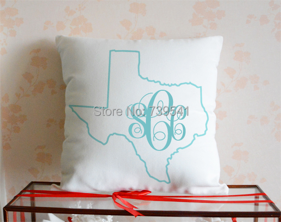 Wholesale monogram state map pillow cover personalized birthday gift idea white canvas handmade 18*18 inches free shipping