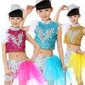 Envío Libre de Lentejuelas Plumas Niños Niñas Jazz Ropa de Hip Hop Desgaste de la Danza Etapa Los Niños Rendimiento Trajes De Baile De Salón
