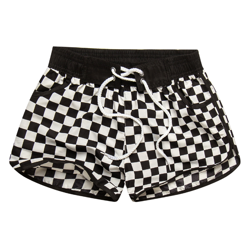 2017 Venda Quente Das Mulheres Shorts Curtos Feminino Xadrez Impressão Casal Beachwear Casual wear terno 3XL