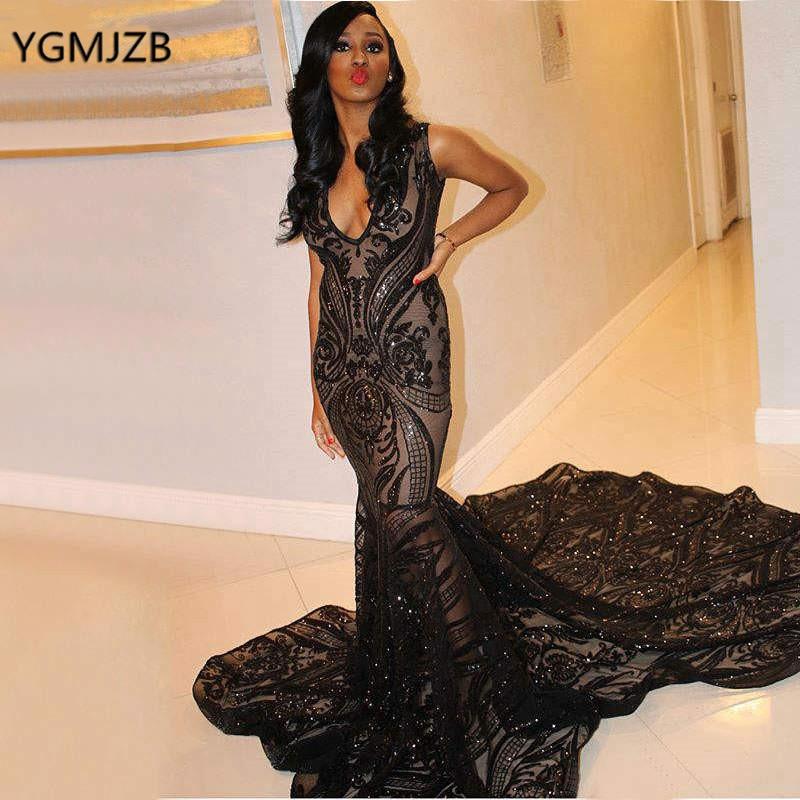 Long Sexy Prom Dress Black 2019 Mermaid Glitter Sequin Deep V Neck Saudi Arabic Formal Party Gowns Evening Gala Dress
