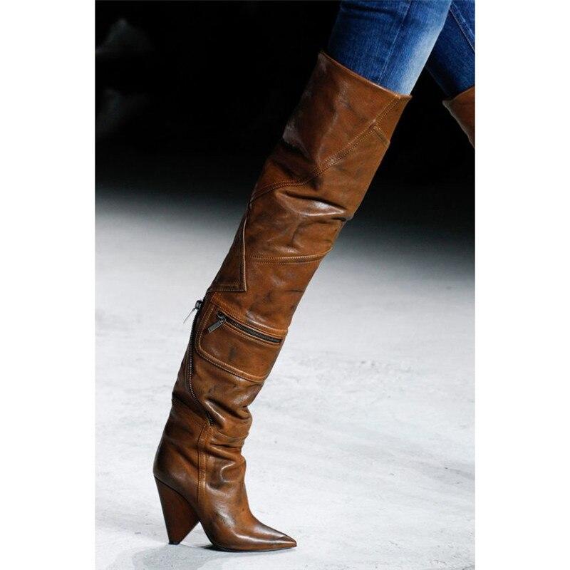 Nouvelle Roi Emma Mode Passerelle Bout Pointu Spike Bottes Cuisse Zipper 2018 Haute Brun Détails Talons Femmes Cowboy Chaussures Dames De q4ddxEwr