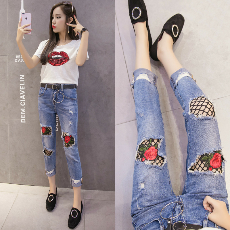 Rose Grid Embroidery Ankle-Length Pants Pencil Jeans Summer New Women Korean High Waist Hole Flanging Slim Ripped Jeans MZ1712 new summer vintage women ripped hole jeans high waist floral embroidery loose fashion ankle length women denim jeans harem pants