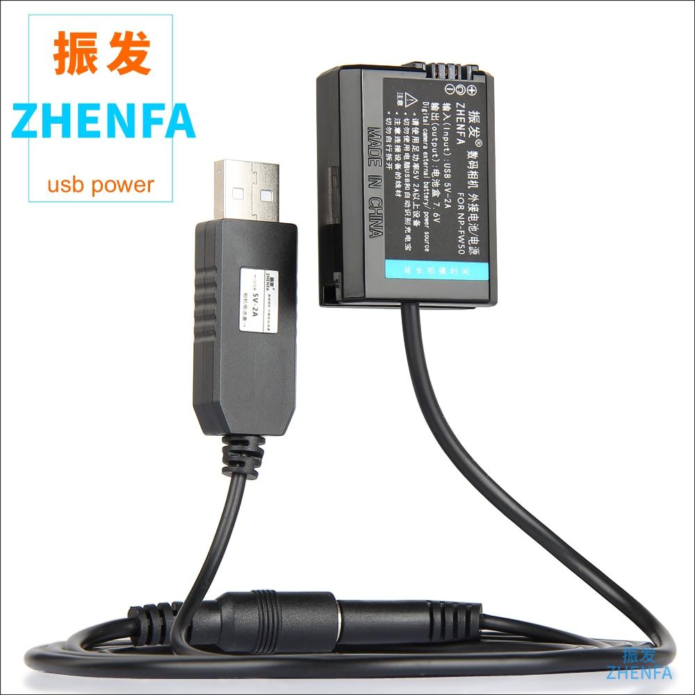 NP-FW50 acoplador de CC NP FW50 tonto de la batería + 5 V USB AC-PW20 DC Cable para sony a7s ILCE-7 ILCE-7RM2 ILCE-3000 ILCE-5000L ILCE-6000L
