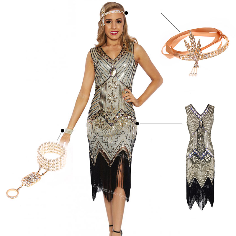 Ladies Black Deluxe 20s Roaring 1920s Flapper Costume Sequin Pearls Fancy Dress
