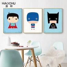 HAOCHU roztomilý kreslený hrdina postava dětská místnost ložnice stěna výzdoba plakát plakát tisk pro obývací pokoj tisk obrazů