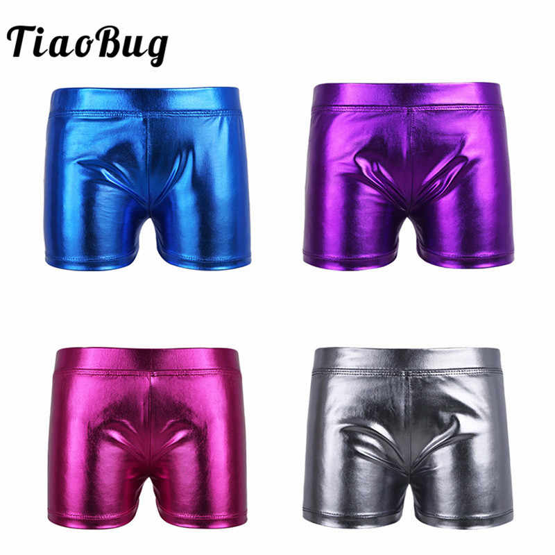 801716c0dd000 TiaoBug Children Girls Shiny Patent Leather Boy-cut Dance Shorts Bottoms  for Sports Gymnastics Workout