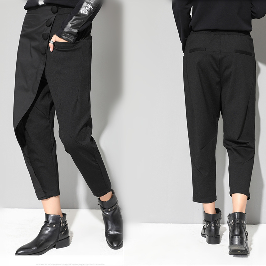 LANMREM 2019 New Fashion Button Patch Patchwork Black Casual Elastic Waist Trousers Female 39 s Slim Harem Pants YE88801 in Pants amp Capris from Women 39 s Clothing