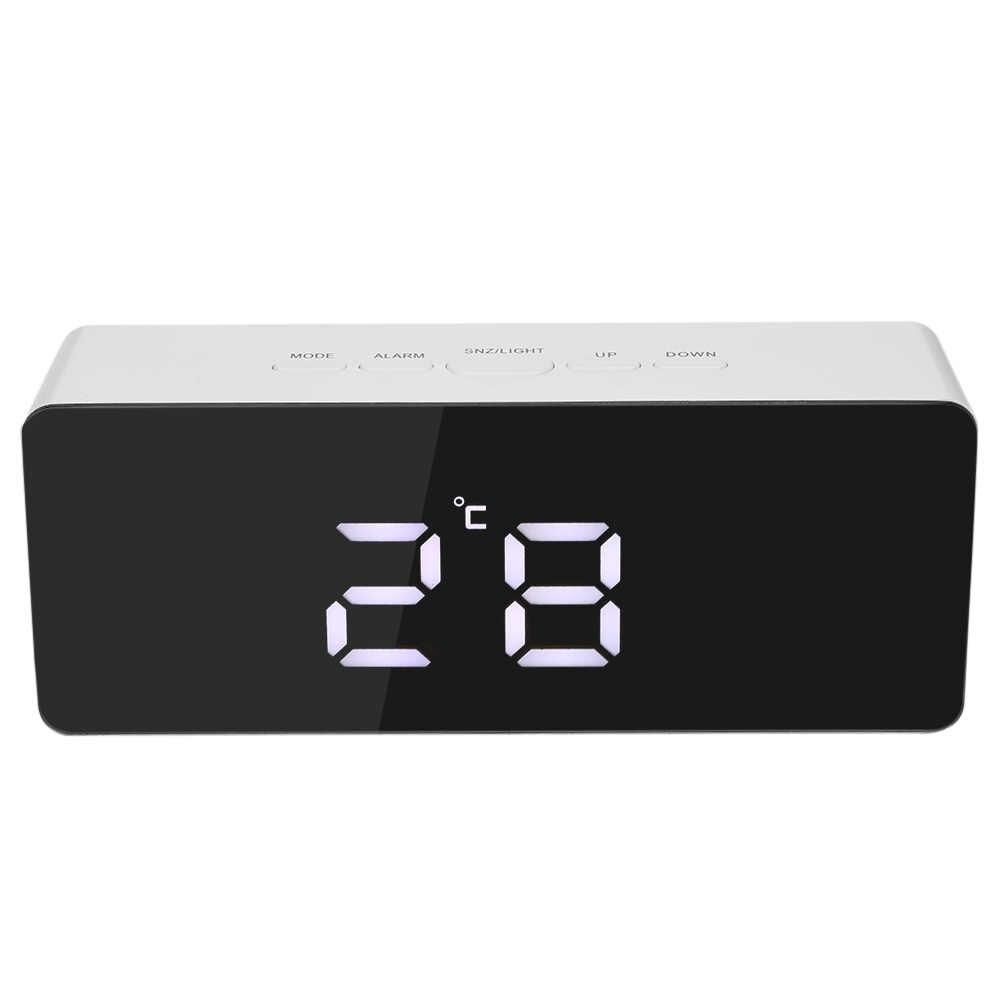 Настенные часы современный дизайн цифровой светодиодный дисплей Настольные Цифровые Настольные часы-Зеркало Часы Будильник функциональный термометр Регулируемый X03
