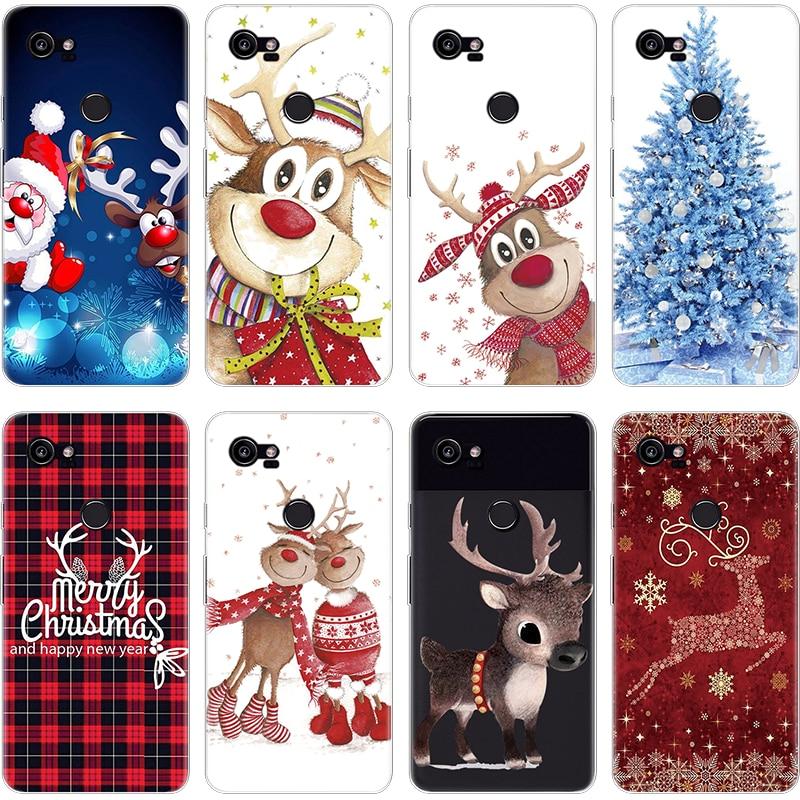 Christmas Phone Case For Google Pixel 2 XL Fundas Cover Ultra Thin Soft TPU Xmas Deer Tree Coque For Google Pixel 2 XL Case Capa