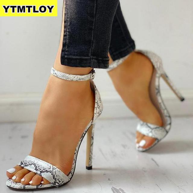 2019 Snake Print Summer Luxury High Heels Women Pumps Comfort Party Female Peep Toe Gladiator Rome Leisure Shoes Sandals Sexy