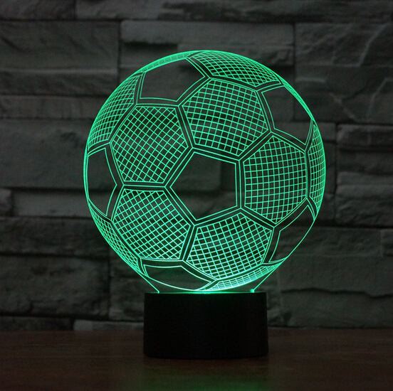 2016 Hot ! NEW 7color changing 3D Bulbing Light football match visual illusion LED lamp k848 action figure toy Christmas gift