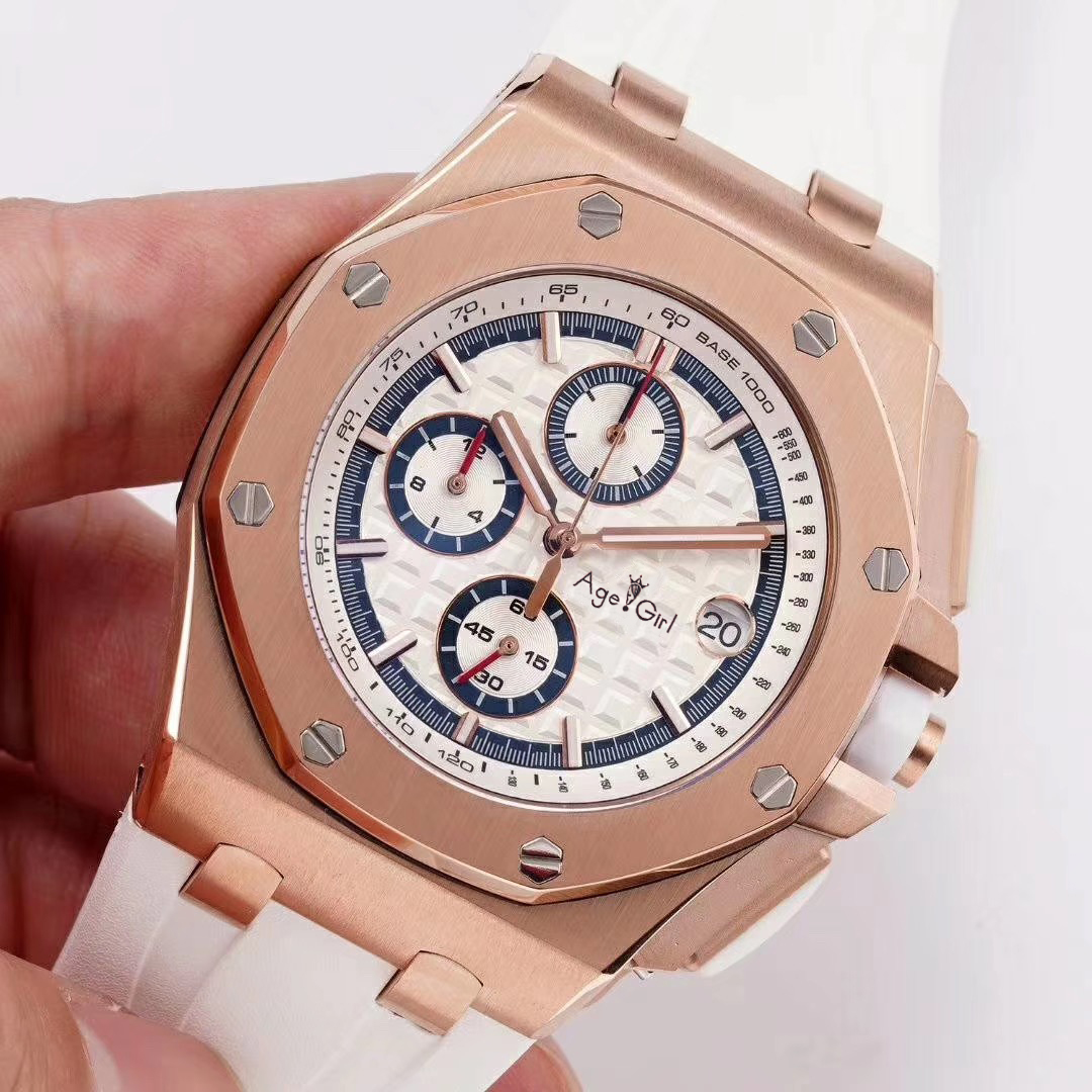 Luxury Brand New Men Watch Chronograph Sapphire Stainless Steel Black Rubber Rose Gold Silver Luminous Stopwatch White Dial AAA+Luxury Brand New Men Watch Chronograph Sapphire Stainless Steel Black Rubber Rose Gold Silver Luminous Stopwatch White Dial AAA+