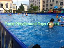 Metal Frame Swimming Pool For Backyard , Square With Cover Sale