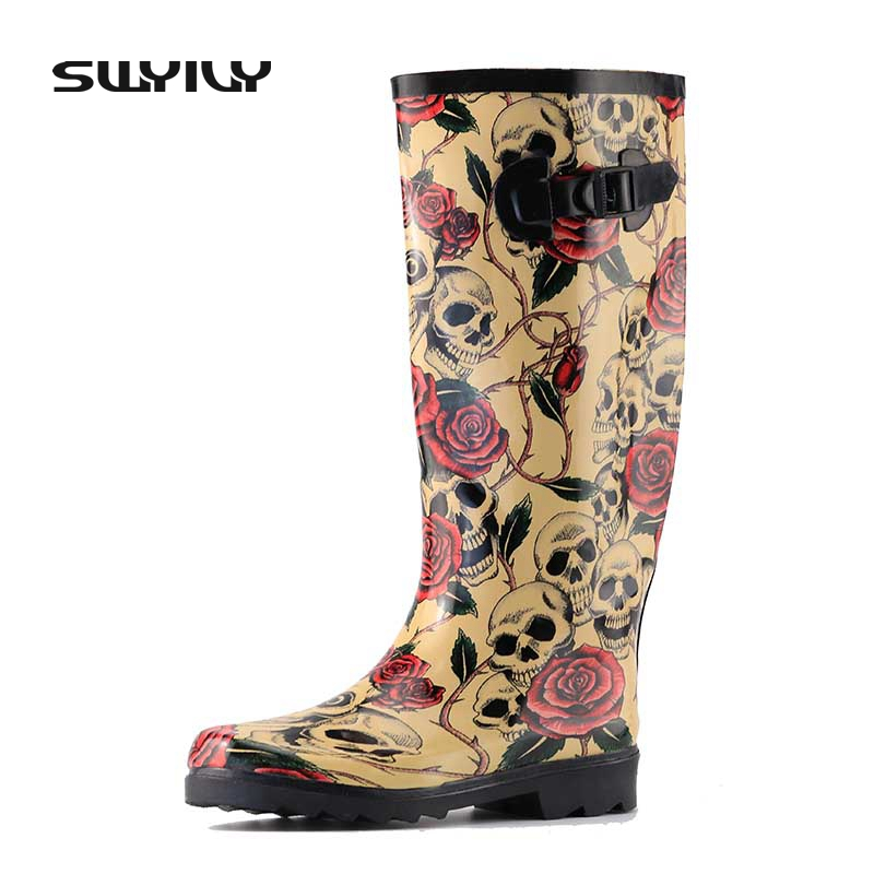 2017 Rose Skull Design Women Rain Boots Sexy Skeleton Head Wild Style Cool Rubber Boots Waterproof Individuality Rain Shoes thin vinyl photography backdrops newborn backdrop computer printing background for photo studio f 2829