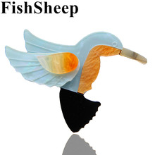 FishSheep Cute Birds Brooches For Women Kids Vintage Acrylic Resin Hummingbird Pins And Brooches Hijab Pin Female Accessories
