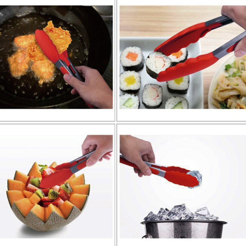 Stainless Steel Food Tongs Silicone Barbecue Clip Barbecue Tongs Multifunctional Kitchen Food Tongs