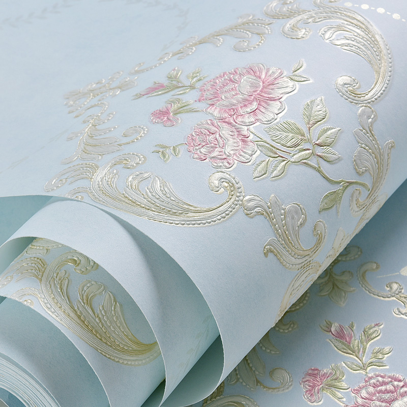 Country Style Flowers Wallpaper Embossed Bedroom Living Room Decoration Household Goods Wall Paper Rolls blue earth cosmic sky zenith living room ceiling murals 3d wallpaper the living room bedroom study paper 3d wallpaper