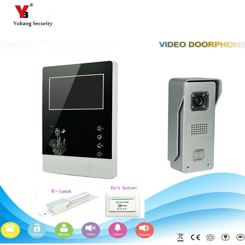 Yobang Security freeship 4.3 inch Video Door Color +Wired Video Intercom Doorbell phone System Video Door Phone Bell Kits 7 inch password id card video door phone home access control system wired video intercome door bell