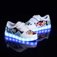 2017 Newest Fashion Print USB Led Board Shoes Kids Breathable Hook And Loop Children Light Up Sneaker