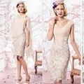 Новые короткое аппликации кап-рукава мать невесты платья с шифон обернуть длиной до колен болеро платья MBD158