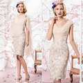 Newest short appliques cap sleeve mother of the bride dresses with chiffon wrap Knee-Length bolero dresses MBD158