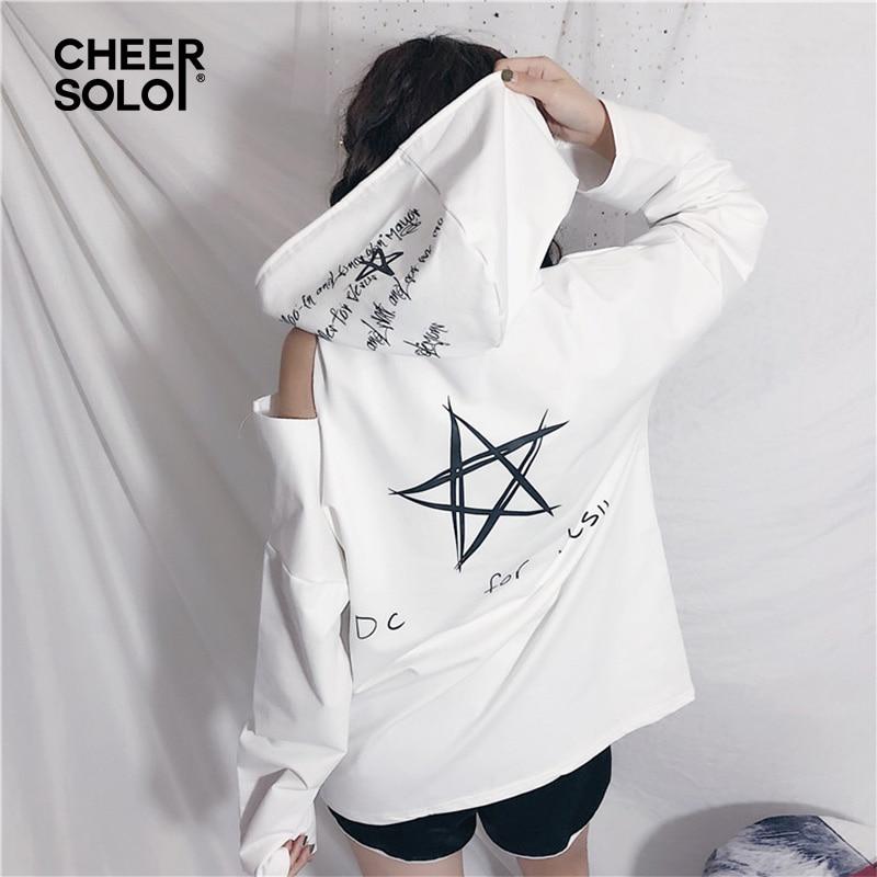 CheerSolo Autumn Hoodies Women Letter Print Star Sweatshirt Open Shoulder Long Sleeve Cut Out Top White Black Korean Streetwear