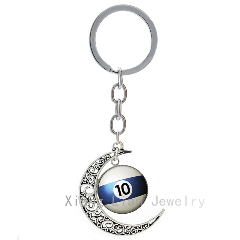Number 10 Pool Billiard Ball keychain personalized billiards Table Tennis pture moon pendant key chain Fathers Day gift T470