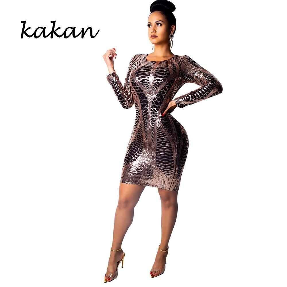 Kakan 2019 new womens sequin dress nightclub sexy fashion club party