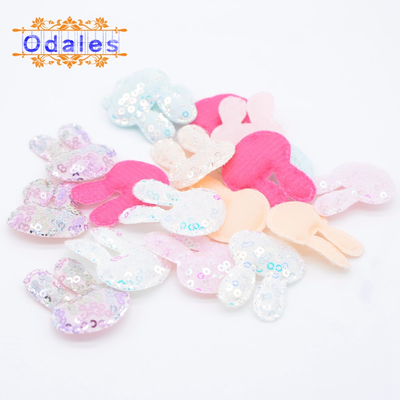 24Pcs Mixed Appliques Rabbit Single Side Glitter Patches DIY Headware Accessories Patches Felt Padded Scrapbooking Sticker