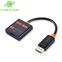 Cabletime DisplayPort Male To HDMI Male Cable Gold Plated DP 1080P Support For HDTV Projectror Audio