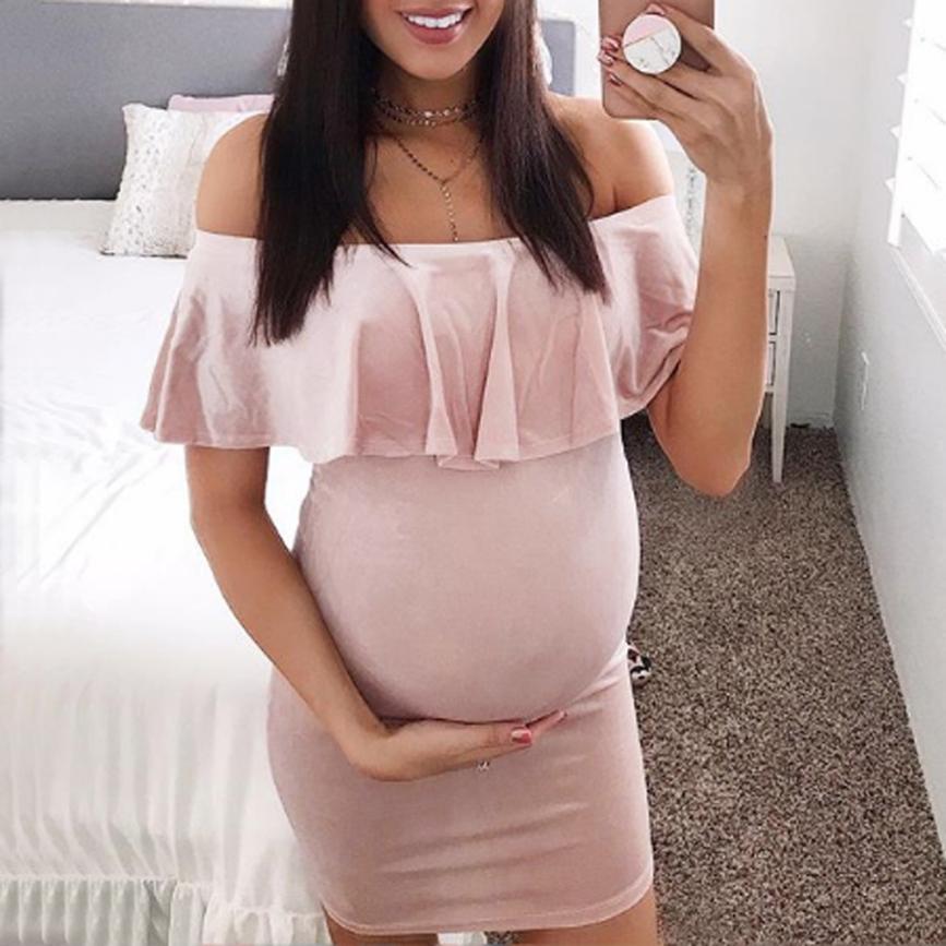 wholesale drop shipping Fashion Womens Pregnants Off Shoulder Ruffles Solid Nursing Maternity Dress Fashion casual S3JUN11